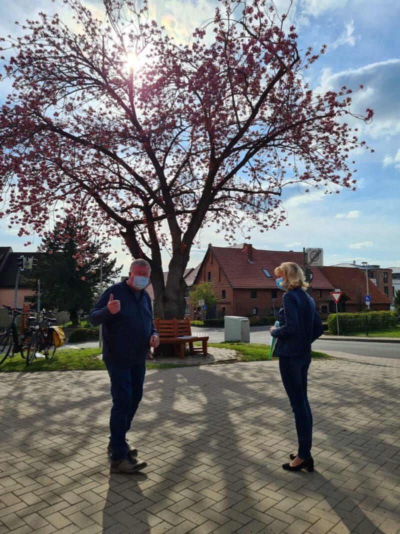 Herr Künecke und Frau Lange vor einem blühenden Kirschbaum